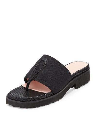 Tine Lizard-Embossed Slip-On Sandal, Black