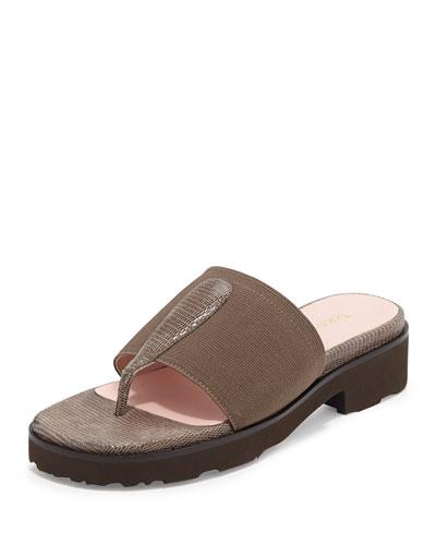 Tine Lizard-Embossed Slip-On Sandal, Taupe