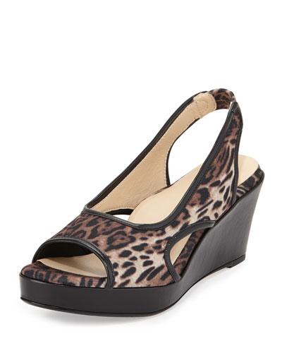 Sabriel Stretch Slingback Sandal, Leopard