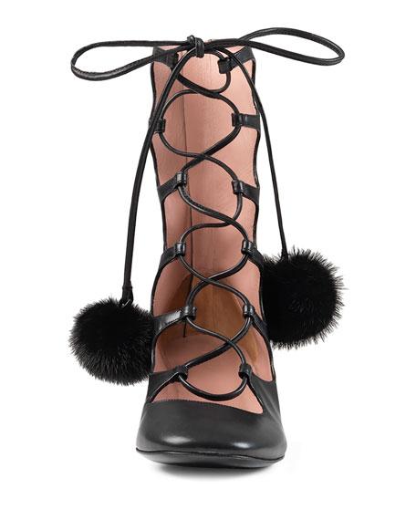 Mink Pompon Lace-Up Pump, Black (Nero)