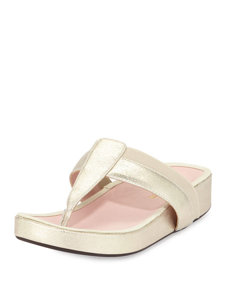 Taryn Rose August Metallic Thong Sandal, Soft Gold