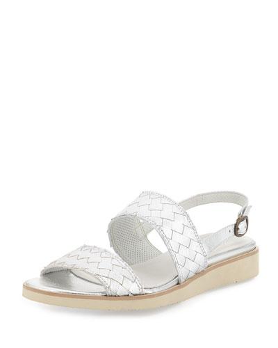 Greta Metallic Woven Sandal, Silver