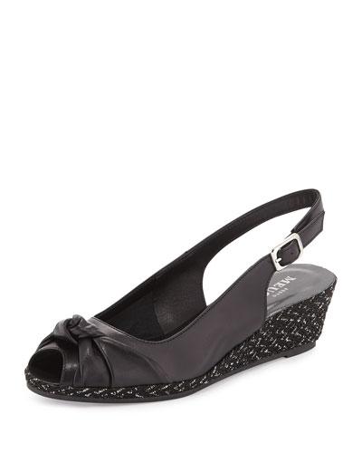 Loren Knotted Slingback Sandal, Black