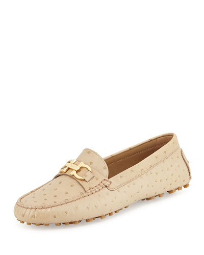 Saba Ostrich-Embossed Loafer, Desert