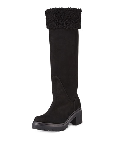Cassy Quilted Suede Boot, Black