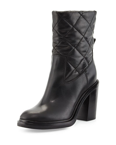 New Leonie Quilted Leather Boot, Black