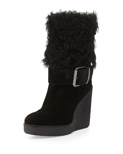 Marguerite Fur-Cuff Wedge Boot, Black