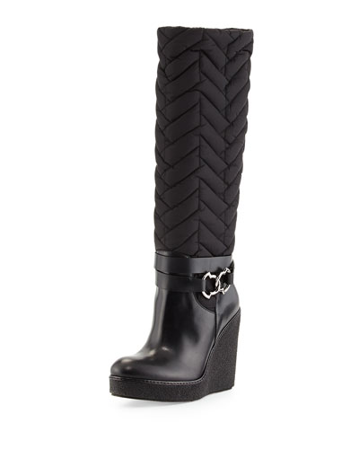Cernobi Quilted Wedge Boot, Black