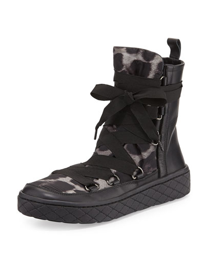 Zoe Leopard-Print Nylon Boot, Black