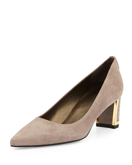 Stuart Weitzman Logo Firstclass Pump with Metal Detail,