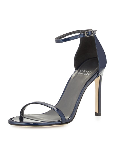 Nudistsong Patent Leather Sandal, Jet Blue