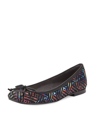Shoestring Woven Napa Ballerina Flat, Multi