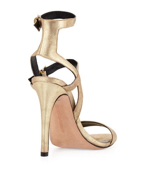 Rosalie Banded Metallic Leather Sandal, Light Gold