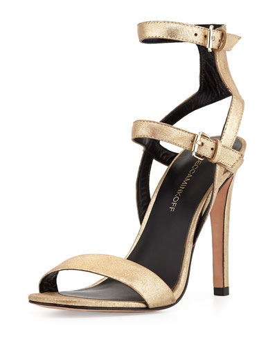 Rosalie Banded Metallic Leather Sandal, Light Gold