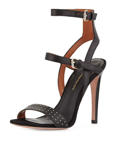 Rosalie Studded Leather Sandal, Black