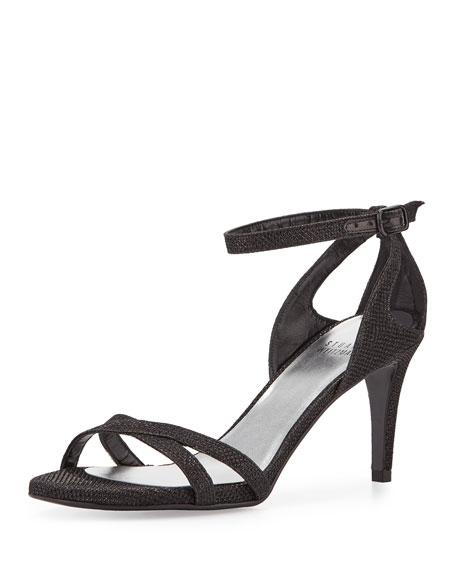 Stuart Weitzman Speedy Strappy Mid-Heel Sandal, Black