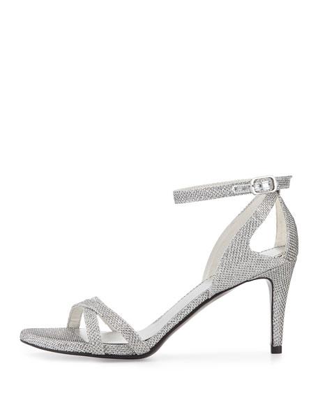 Stuart Weitzman Speedy Strappy Mid-Heel Sandal, Silver | Neiman Marcus