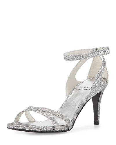 Speedy Strappy Mid-Heel Sandal, Silver