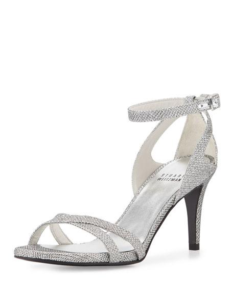 Stuart Weitzman Speedy Strappy Mid-Heel Sandal, Silver