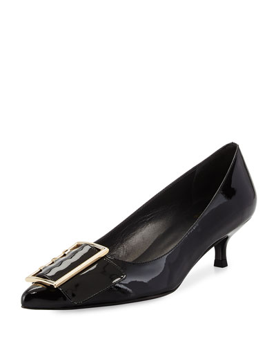 Triplespare Patent Low-Heel Pump, Black