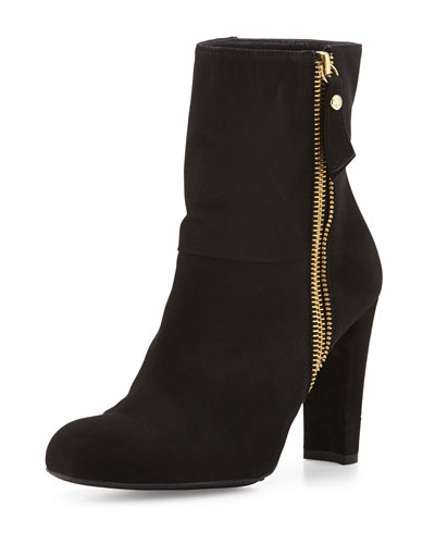 Zipitty Suede Side-Zip Bootie, Black
