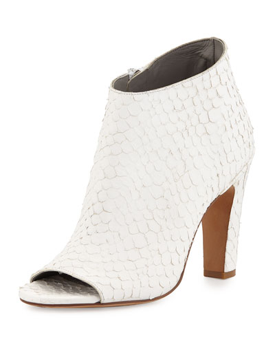Sierra-3 Python-Print Peep-Toe Bootie, Optic White