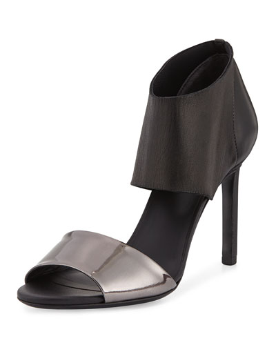 Stephanie Ankle-Cuff Leather Sandal, Ruthenium/Black