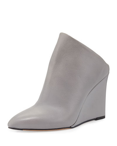 Vail Leather Wedge Mule, Truffle