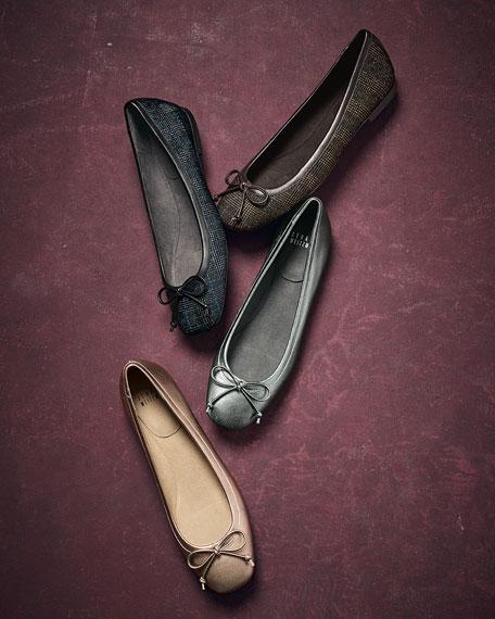 Shoestring Plaid Ballerina Flat, Brass