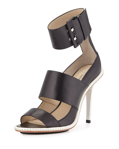 Illia Leather Ankle-Cuff Sandal, Black
