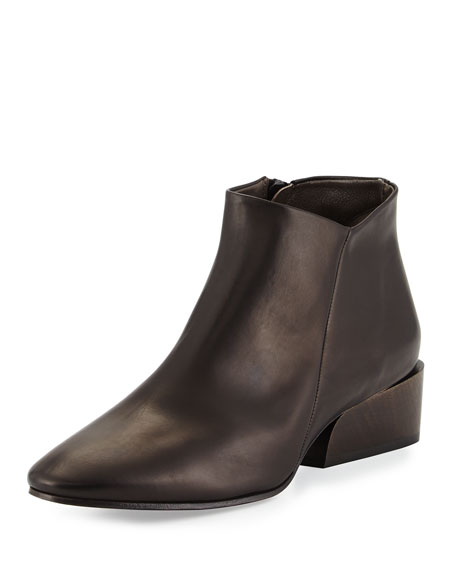 Whit Leather Ankle Bootie, Black