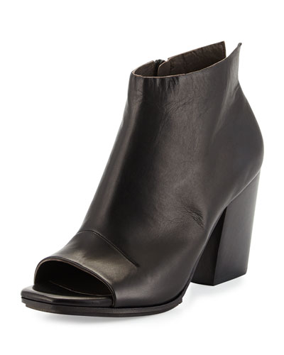 Den Open-Toe Leather Bootie, Black