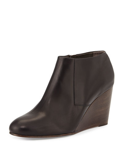 Elurra Leather Wedge Bootie, Black