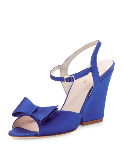 imari satin wedge sandal, cobalt