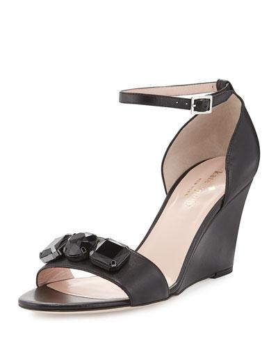 allie jeweled leather wedge sandal, black