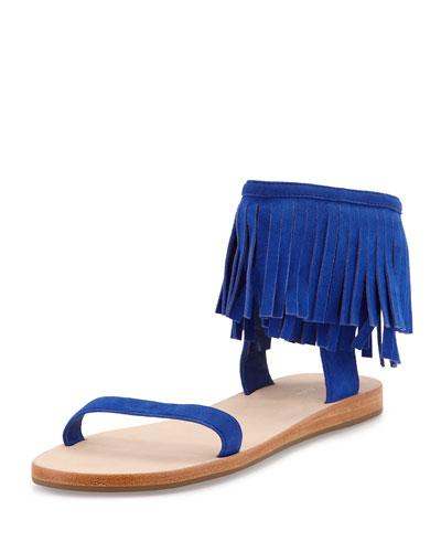 alex flat fringe-cuff sandal, lapis blue