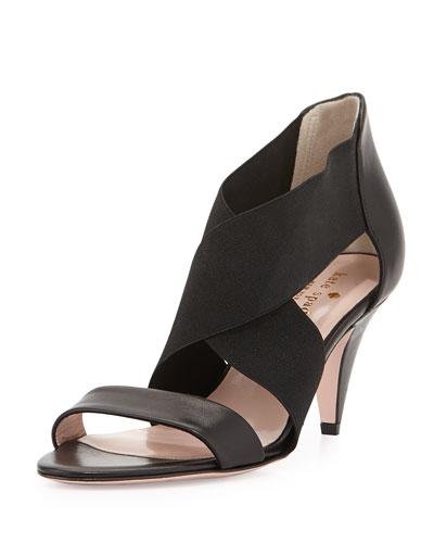 alicia crisscross stretch sandal, black