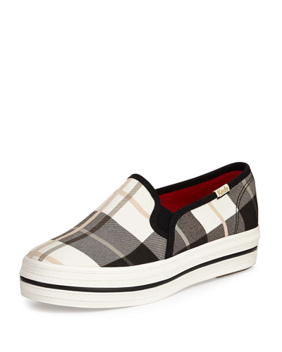 decker plaid slip-on sneaker, black