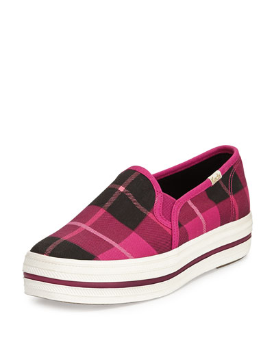decker plaid slip-on sneaker, pink