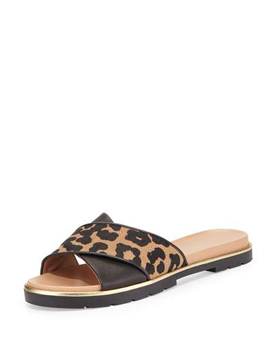 markey leather crisscross sandal, desert/black