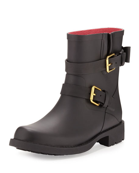 kate spade new york pamela moto rubber rain boot, black