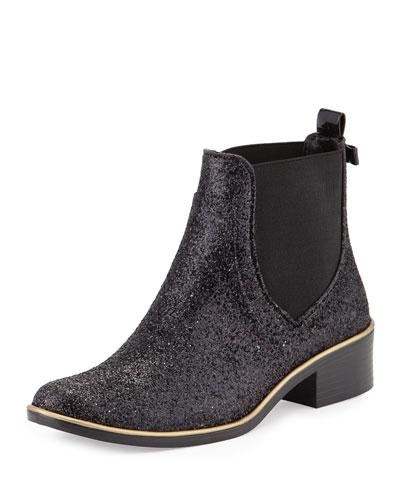 sedgewick glitter ankle rainboot, black