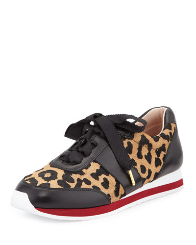 sidney calf-hair leather trainer, desert/black