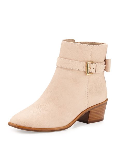 taley leather bow ankle boot, pale pink