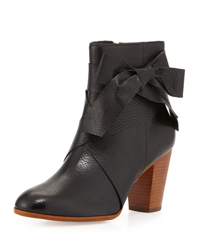tracee leather bow bootie, black
