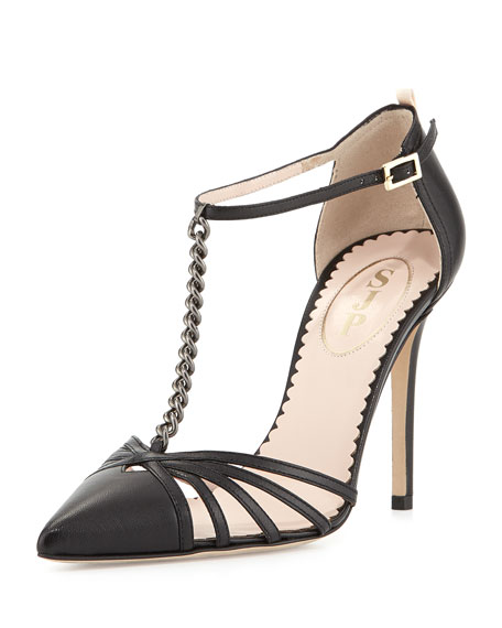 Carrie Chain T-Strap Pump, Black