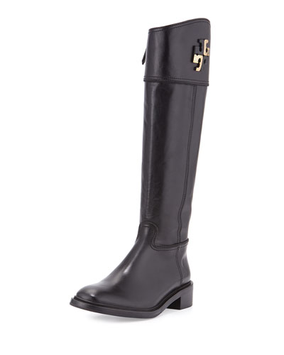 Lowell Logo Riding Boot, Black