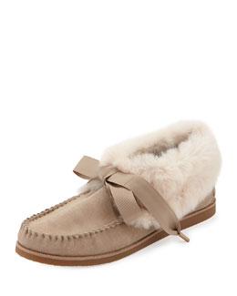 Aberdeen Fur-Lined Slipper, Light Camel/Natural