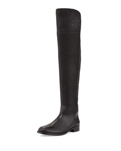 Simone Over-the-Knee Leather Boot, Black
