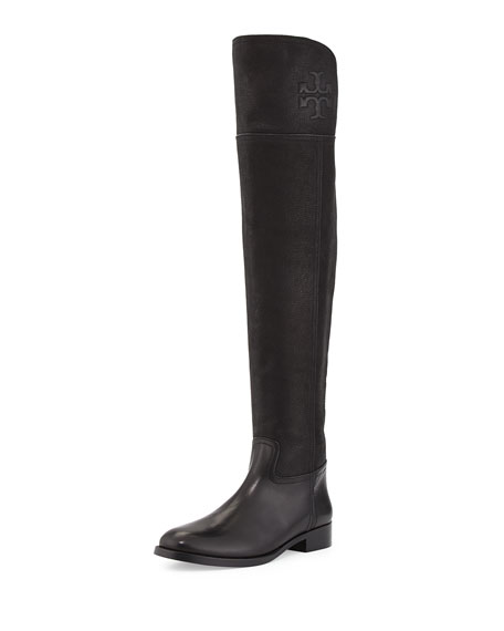 Tory Burch Simone Over-the-Knee Leather Boot, Black